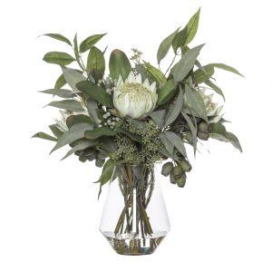 ROGUE Black Label (RB) Grand King Protea Mix-Emmeline Vase Soft Green/Glass 50x50x60cm