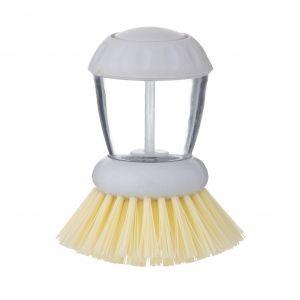 Davis & Waddell Remo Round Dish Brush w/ Detergent Dispenser White/Natural/Clear 8x8x10cm