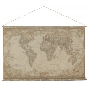 Amalfi World Map Hanging Wall Décor Multi 100x154cm