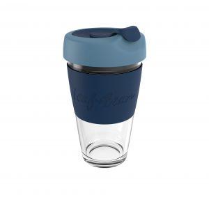 Leaf & Bean Sorrento Glass Travel Cup Clear/Marine/Midnight 8.5x8.5x16.5cm/454ml/16oz