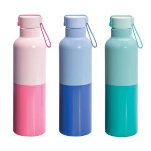Is Gift Duotone Metal Water Bottle 550ml (3Asst) Assorted 26.8x7.3x7.3cm