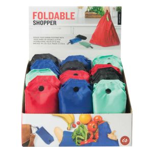 IS GIFT Foldable Shopper with Clip  assorted Black, red, navy & aqua.