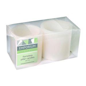 Emporium Small Pillar LED Candles Set/2 White 7.5x7.5x7.5cm