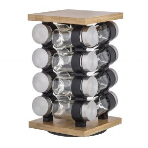 Davis & Waddell Romano Spice Jar Set with Rack 16pce Natural/Clear/Silver 16x16x27cm