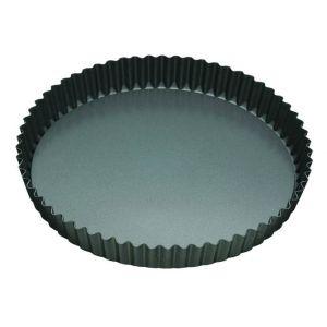 MasterPro N/S Loose Base Round Flan/Quiche Tin Black External 25x25x3.5cm/Internal 23x23x3.5cm