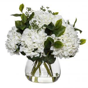Rogue Hydrangea Berry Mix-Garden Vase White/Glass 40x45x47cm