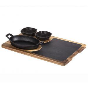 Davis & Waddell Fine Foods Sharing Set 4pce Black/Natural Board 38.5x25x1.7cm/Skillet 22x12x5cm/2 Bowl 8.5x8.5x3cm