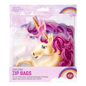 IS GIFT Reusable Zip Bag  - Unicorns  Multicoloured Set of 8