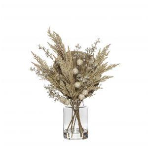 Rogue Pampas Fan Palm Mix-Pail Vase Cream/Glass 52x45x65cm