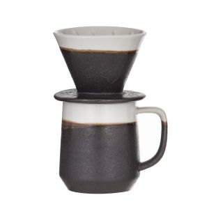 Leaf & Bean Roma Reactive Glaze Pour Over Coffee with Cup Cup 11x8.5x10cm 340ml/Pour Over 9.5x9.5x8cm Chocolate/Natural