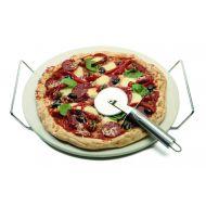 Davis & Waddell Round Pizza Stone Set 3pce Natural/Stainless Steel Stone 36x33x4cm/Cutter 21x7x2cm