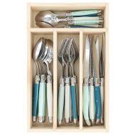 Andre Verdier Debutant Cutlery Set 24pce Stainless Steel/St Tropez/Teal/Mint/White 6 Spoons 23.5cm/6 Forks 21.5cm/6 Knives 23.5cm/6 Tsp 16.5cm/GB 32x20x5cm