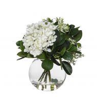 Rogue Hydrangea Bundle-Sphere Vase White/Glass 26x26x26cm