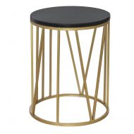Amalfi Shelby Marble Side Table Gold/Black 40x40x50cm