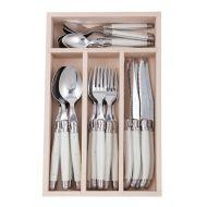 Andre Verdier Debutant Cutlery Set 24pce Stainless Steel/White 6 Spoons 23.5cm/6 Forks 21.5cm/6 Knives 23.5cm/6 Tsp 16.5cm/GB 32x20x5cm