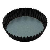 MasterPro N/S Loose Base Round Deep Flan/Quiche Tin Black External 25x25x6cm/Internal 23x23x6cm