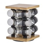 Davis & Waddell Romano Spice Jar Set with Rack 12pce Natural/Clear/Silver 16x16x21cm