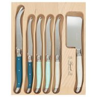 Andre Verdier Debutant Cheese Knife Set 6pce Stainless Steel/St Tropez/Teal/Mint/White Cheese 23cm/4 Cheese 20cm/Cleaver 21cm/GB 25x20x2cm
