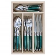 Andre Verdier Debutant Cutlery Set 24pce 6 Spoons 23.5cm/6 Forks 21.5cm/6 Knives 23.5cm/6 Tsp 16.5cm/GB 32x20x5cm Stainless Steel/Forest/Forest Green/Green/Sage