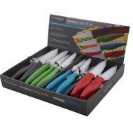 Savannah Ceramic Utility Knife & Sheath 4 Asst Colours White Blade/5 Grey/5 Green/5 Blue/5 Red 9cm Blade/22x3x1.5cm