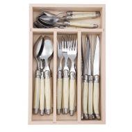 Andre Verdier Debutant Cutlery Set 24pce Stainless Steel/Ivory 6 Spoons 23.5cm/6 Forks 21.5cm/6 Knives 23.5cm/6 Tsp 16.5cm/GB 32x20x5cm