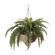 Rogue Boston Fern-Rattan Hanging Bowl Green/Natural 95x80x60cm