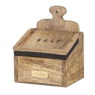 Academy James Salt Box with Spoon Natural/Black/Gold 15x10x10cm