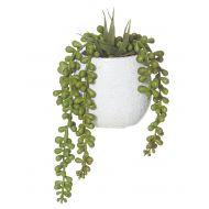 Rogue Hanging Pearls-Tub Pot Green/White 13x12x22cm