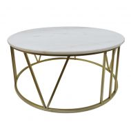 Amalfi Shelby Marble Coffee Table Gold/White 70x70x35cm